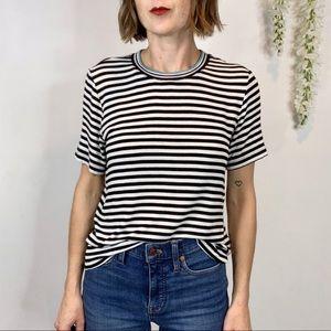 SPLENDID striped tee short sleeve mock neck stretch fabric